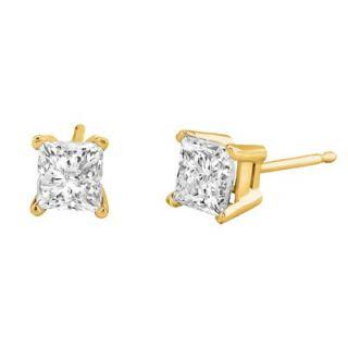 Élan Jewelry Carat Princess Cut Diamond Stud Earrings in Yellow Gold