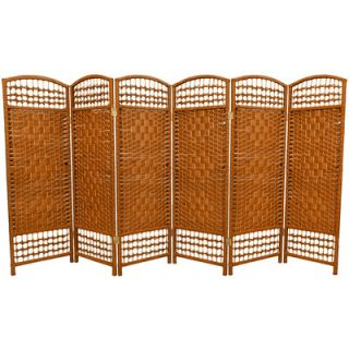 Oriental Furniture Fiber Weave 6 Panel Room Divider in Dyed Dark Beige