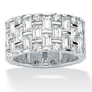 Palm Beach Jewelry Platinum/Silver Cubic Zirconia Eternity Band