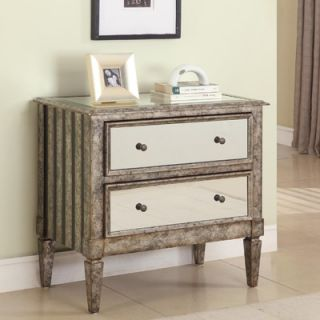Powell 2 Drawer Mirrored Console in Antique Silver and Black Crackle