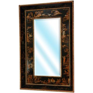 Oriental Furniture Extra Wide Wall Mirror in Antique Black Lacquer