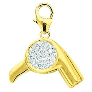 EZ Charms 14K Yellow Gold Diamond Hair Blower Charm