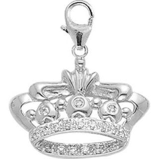 EZ Charms 14K White Gold Diamond Crown Charm
