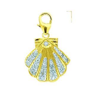 EZ Charms 14K Yellow Gold Diamond Seashell Charm
