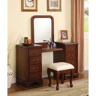 Wildon Home ® Louis Phillipe Vanity Mirror in Warm Cherry