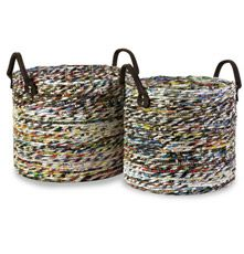 Made from tightly coiled magazine strips, this set of baskets is eco