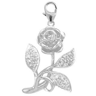 EZ Charms 14K White Gold Diamond Rose Charm