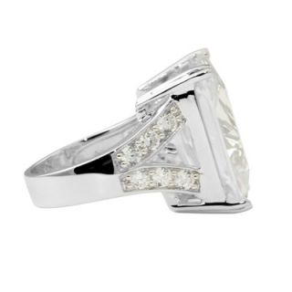 Palm Beach Jewelry Platinum/Silver Emerald Cut Cubic Zirconia Ring