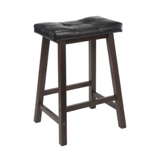Winsome Mona 24 Saddle Seat Stool with Cushion in Antique Walnut