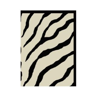 American Home Rug Co. African Safari Off White/Black Zebra Print Rug