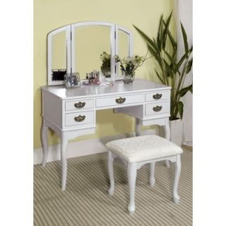 Hokku Designs Madera Vanity Table with Matching Stool   JEG EL75