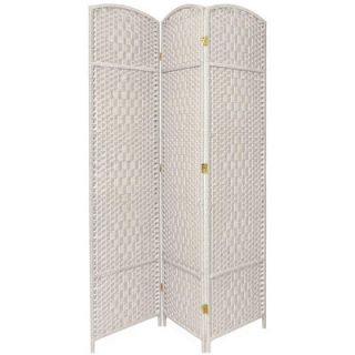 Oriental Furniture Diamond Weave 3 Panel Room Divider in White   FB