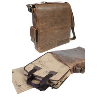 Scully Distressed Leather Laptop Messenger Bag in Brown   608 10 29