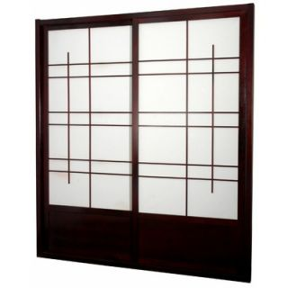Oriental Furniture Eudes Shoji Double Sliding Door Kit in Rosewood