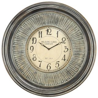 Cooper Classics Lenna Wall Clock in Distressed Aged