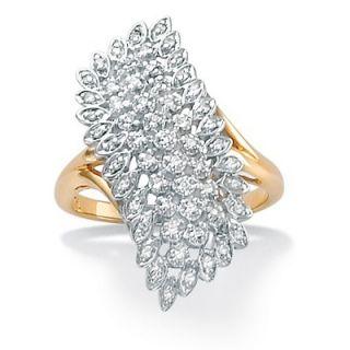 Palm Beach Jewelry 18k Gold/Silver Diamond Cluster Ring
