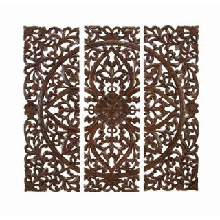 UMA Enterprises Toscana Wood Carved Plaque (Set of 3)