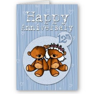 happy anniversary bears   12 year greeting cards