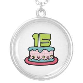 15 Year Old Birthday Cake Pendant