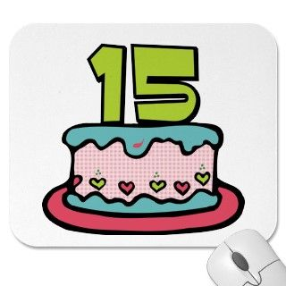 15 Year Old Birthday Cake Mousepad