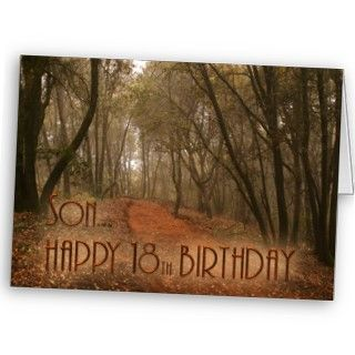 Son Happy 18th Birthday Path in the Woods Greeting Card