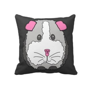 Whimsical Gray Guinea Pig Throw Pillow