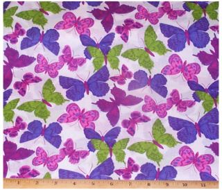 Butterflies Fabric by yard cotton Purple Pink Blue Green Butterfly