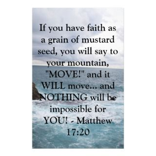 Matthew 17:20 Motivational Bible Quote Personalized Stationery
