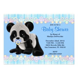 CUTE Sweet Plush Baby Panda Bear Baby Shower Personalized Invite