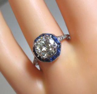 Unique Antique Large Diamond Deco 3ct Diamond Sapphire Platinum