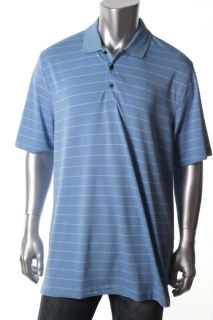 Greg Norman New Blue Bar Stripe Perfor Short Sleeve Polo L BHFO