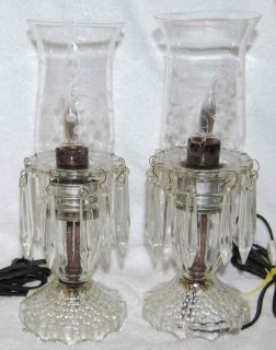 Vintage Pair Crystal Lamps with Etched Wheel Cut Hurricane Shades