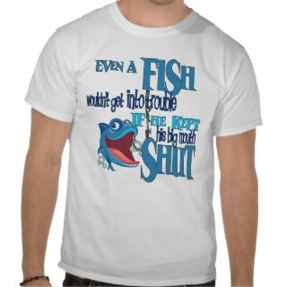 Fish in Trouble Big Mouth Shut Funny Fishing T Shirt