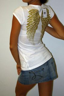 New Womens Guess Angel Shirt Top T shirt Shiny Gold Wings White size