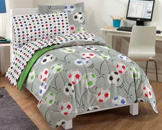 New Soccer Gray Kids Bedding Twin or Full Comforter Sheet Set