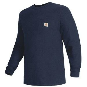 Carhartt Work Wear Long Sleeve Pocket T Shirt Mens Navy 2XL 3XL K126
