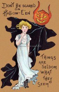 Griggs Halloween Demon JOL Head Devil Ghost Repro Greeting Card