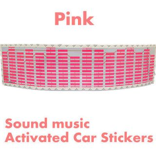 Pink Sound music Activated Car Stickers Equalizer Glow 12V LED Light