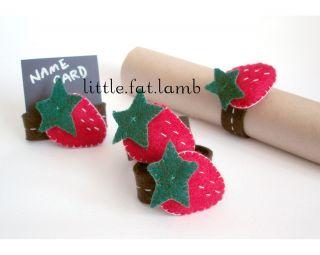 Handmade Craft Felt Strawberry Plush Napkin Holder Ring Table Place