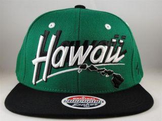 NCAA HAWAII WARRIORS ZEPHYR SCRIPT FLAT BILL SNAPBACK HAT CAP GREEN