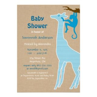 Invitaciones de la ducha del bebé de la jirafa invitacion personal