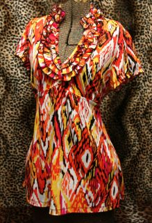 Heart Soul Distorted Diamond Print Tunic Top XL