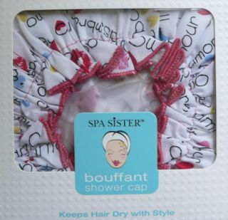 Spa Sister Stylish Bouffant Shower Cap Hearts Kisses