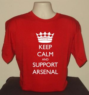 KEEP CALM AND SUPPORT ARSENAL T SHIRT RETRO COOL FUNNY QUALITY
