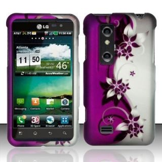 Purple Silver Vine Hard Protector Case Snap on Phone Cover for at T LG
