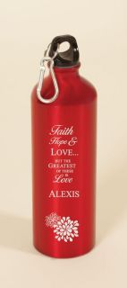 Bottle with Carabiner Personalized Laser Engraved Faith, Hope, Love