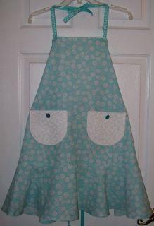 Handmade Womens Kitchen Craft Vintage Retro Apron Teal Blue White