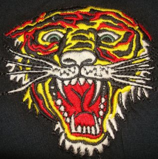 Ed Hardy Tiger T Shirt Black Christian Audigier Embroidered Tee Shirt