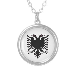 Albania Double Headed Eagle Silver Necklace