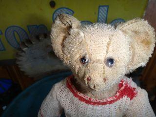 Antique Mohair Glass Eyed Bat Ear Teddy Bear 9 Tall Hecla
